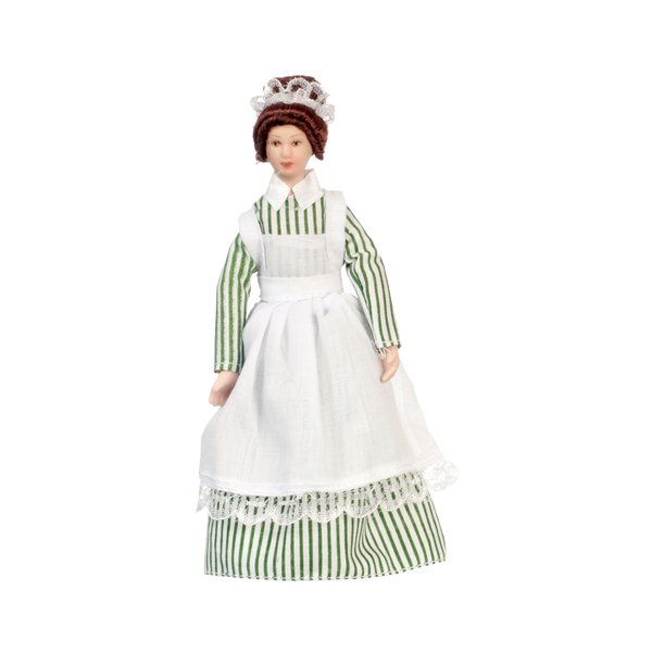 1 Inch Scale Green and White Striped Maid