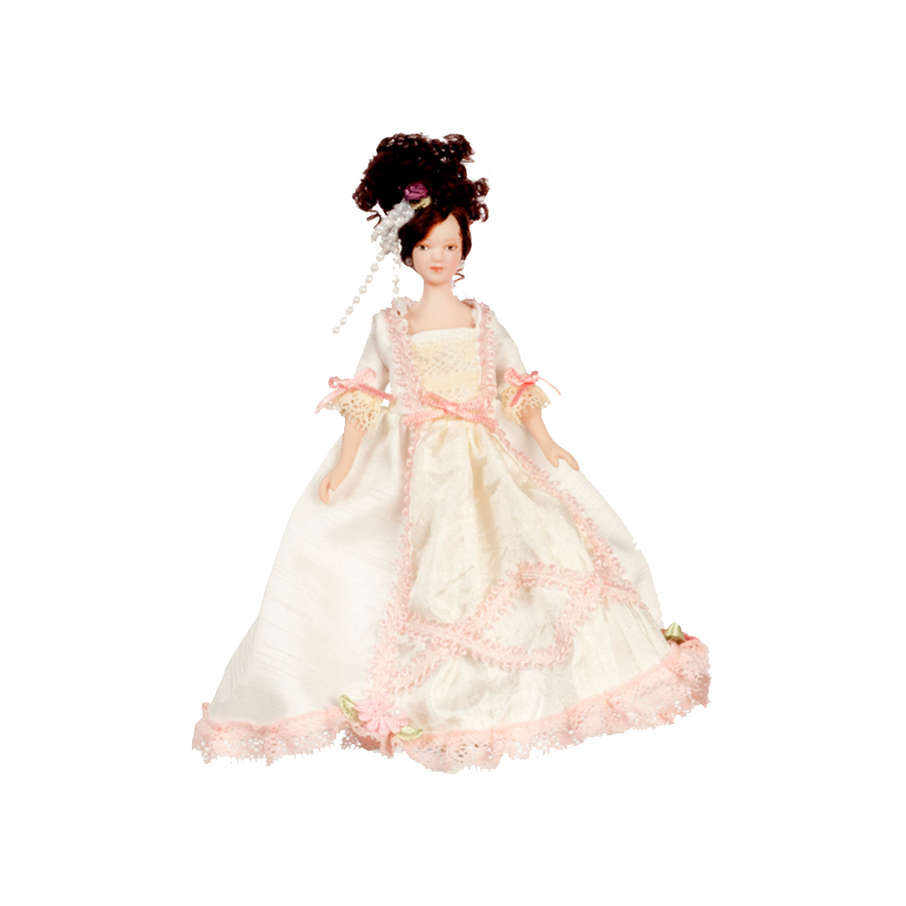 1 Inch Scale Victorian Lady in White Gown