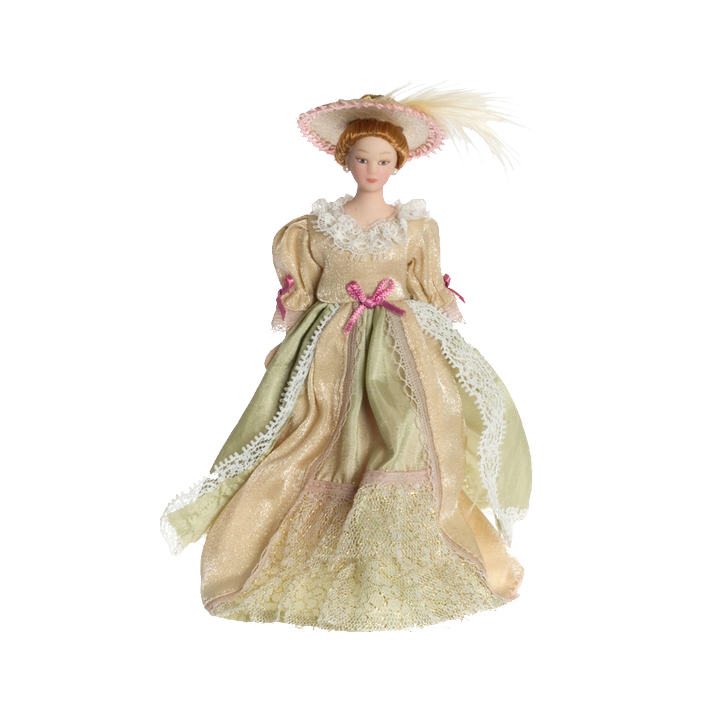 1 Inch Scale Victorian Lady in Beige Gown