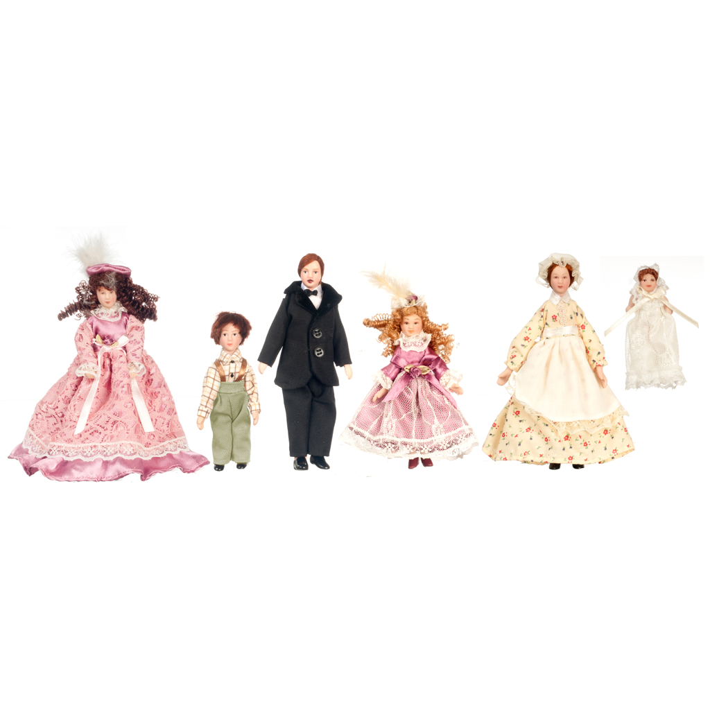 1 Inch Scale Victorian Dollhouse Family of Five Plus Maid