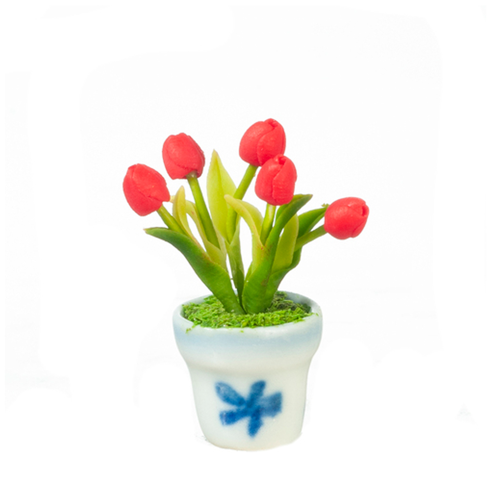 Red Tulip Flowers in Pot Dollhouse Miniature