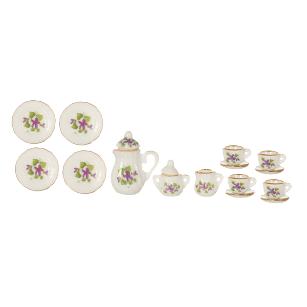 1 Inch Scale Floral Dollhouse China Set 17 piece