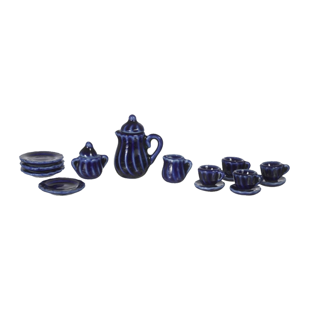 1 Inch Scale Cobalt Blue Dollhouse China Set