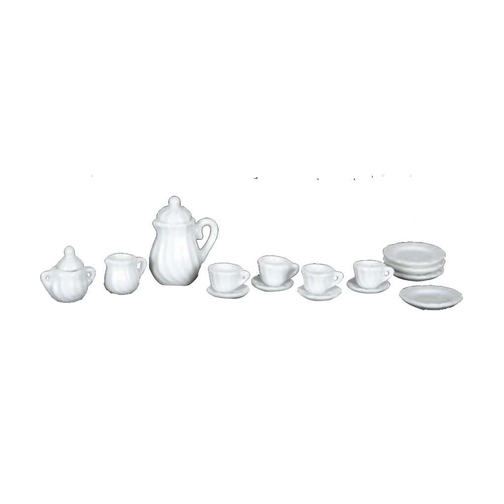 1 Inch Scale White Dollhouse China Set