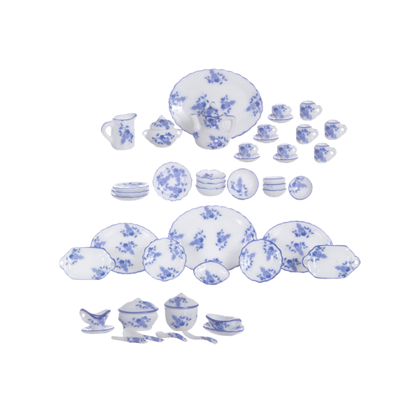 1 Inch Scale Blue Floral Dollhouse Tea and Serving Set - 50 pieces