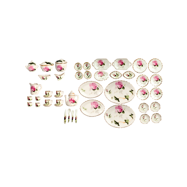 1 Inch Scale Rose Dollhouse Dinner Serving Set - 50 pieces