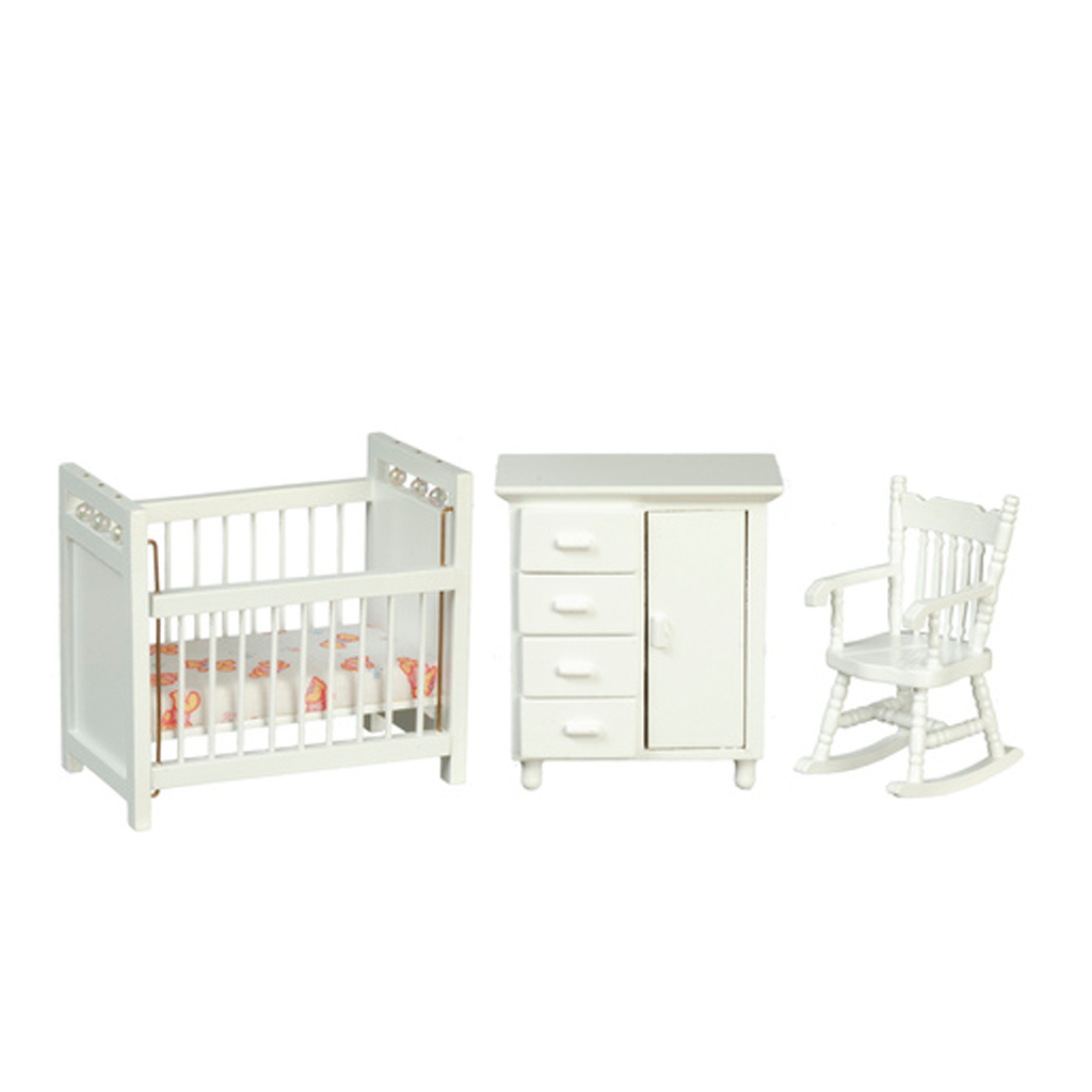 1 Inch Scale White Dollhouse Nursery Set 3 pieces