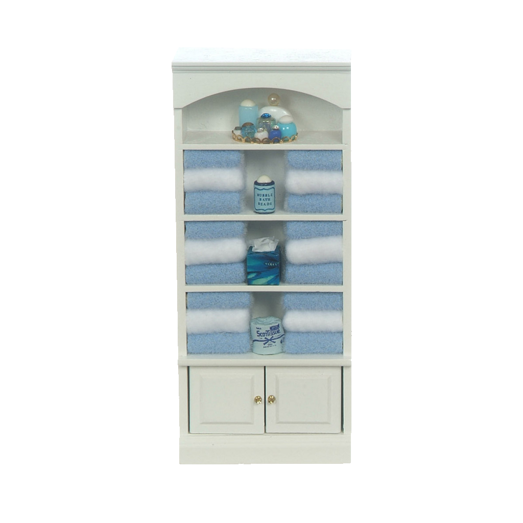 Decorated 1 Inch Scale Dollhouse Bathroom Cupboard with Accessories in Blue