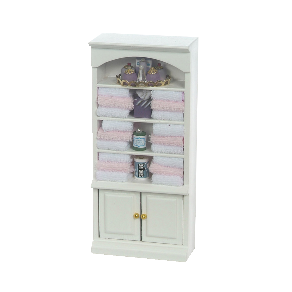 Decorated 1 Inch Scale Dollhouse Bathroom Cupboard with Accessories in Pink