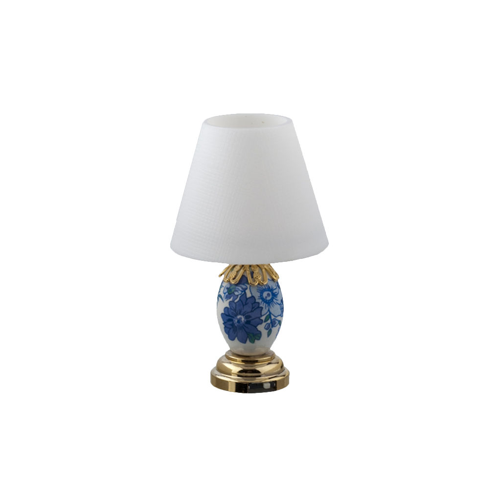 Houseworks LED Miniature Blue And White Floral Table Lamp Battery Operated