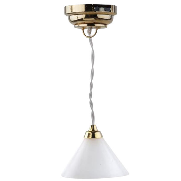 Houseworks LED Miniature Modern Cone Shade Hanging Light Battery Operated