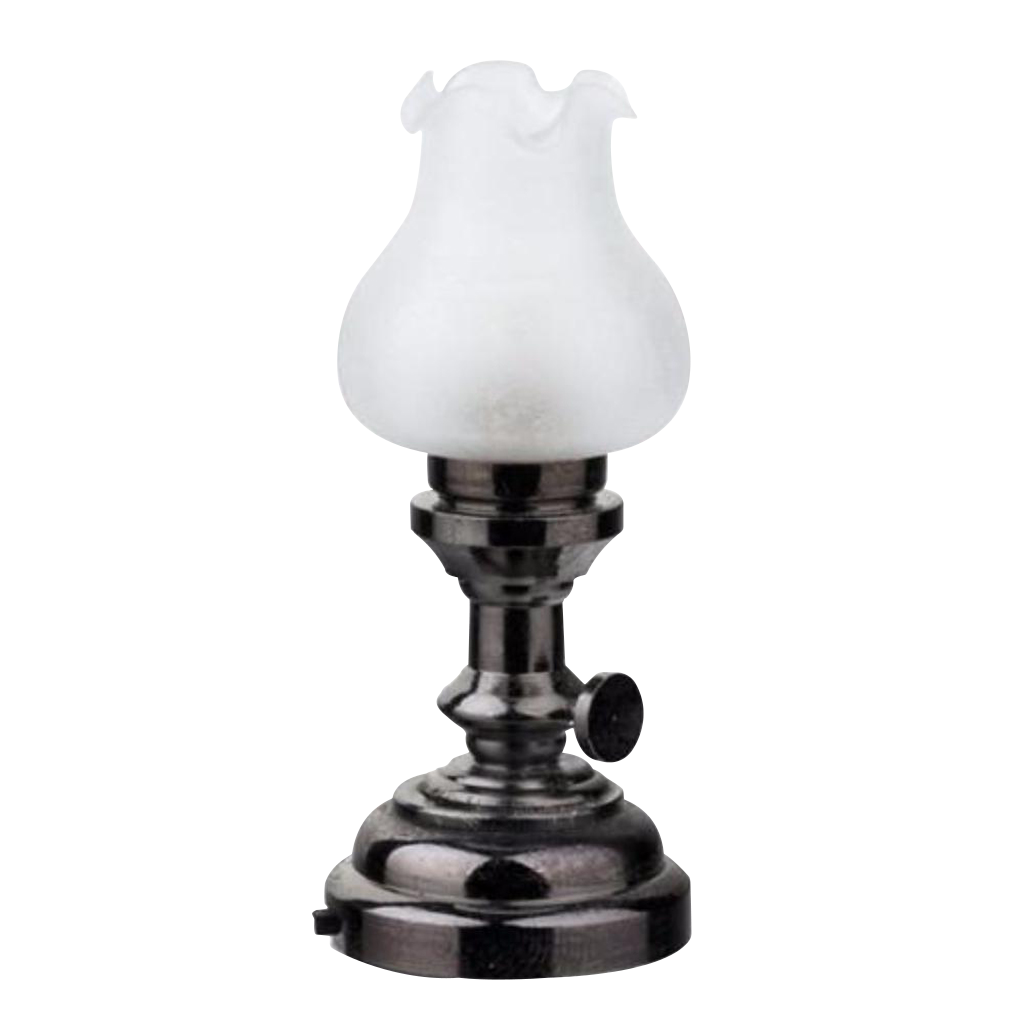 Houseworks LED Miniature Nickel Tulip Table Lamp Battery Operated