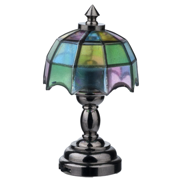 Houseworks LED Miniature Nickel Tiffany Table Lamp Battery Operated
