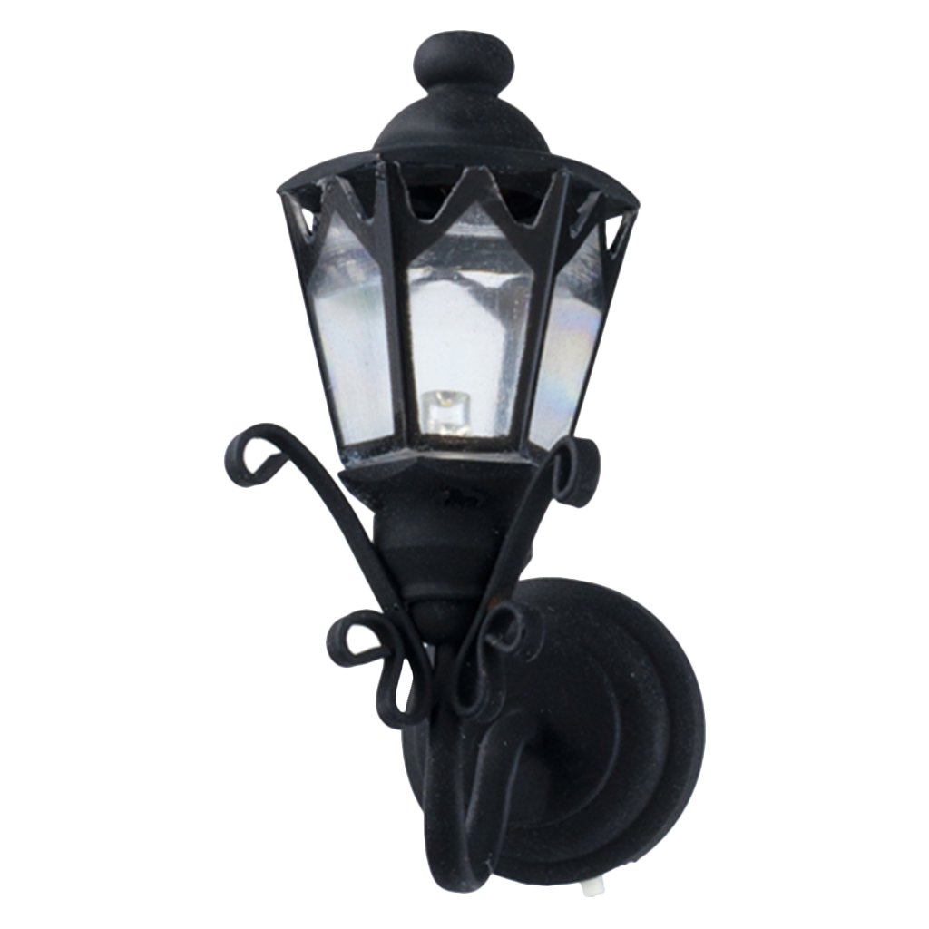 Nice Houseworks LED Miniature Black Fancy Coach Lamp Battery Operated