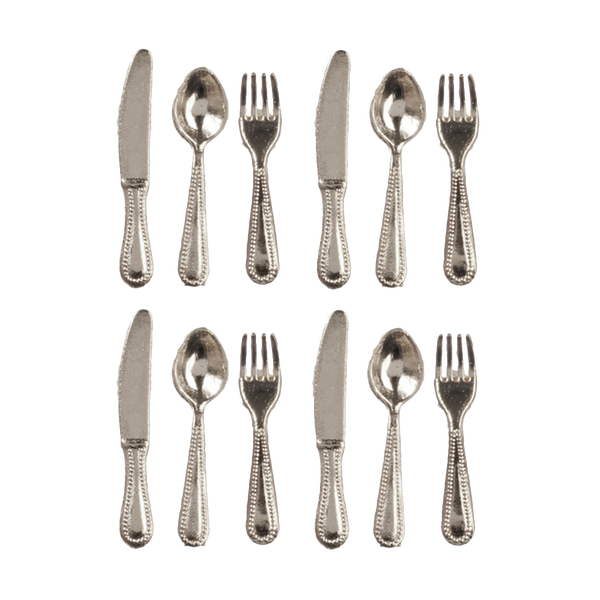 1 Inch Scale Silver Flatware Dollhouse Miniature Set - 12 pieces