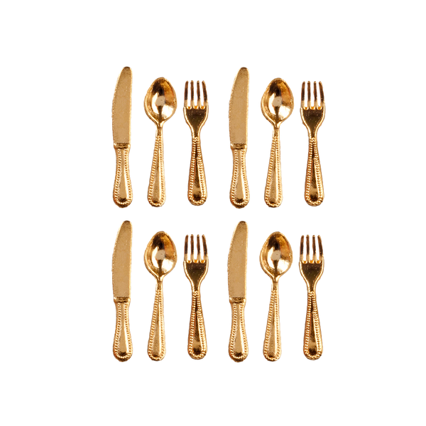 1 Inch Scale Gold Flatware Dollhouse Miniature Set - 12 pieces