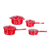1 Inch Scale Red Spatter Dollhouse Pots and Pans Set