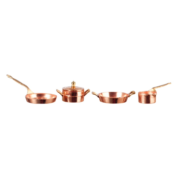 1 Inch Scale Copper Pot & Pan Dollhouse Set