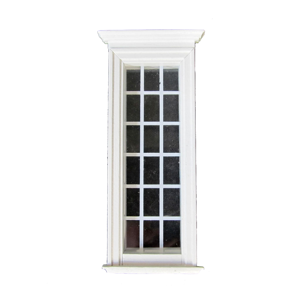 18 Light 1/2 Inch Scale Federal Dollhouse Window Painted White