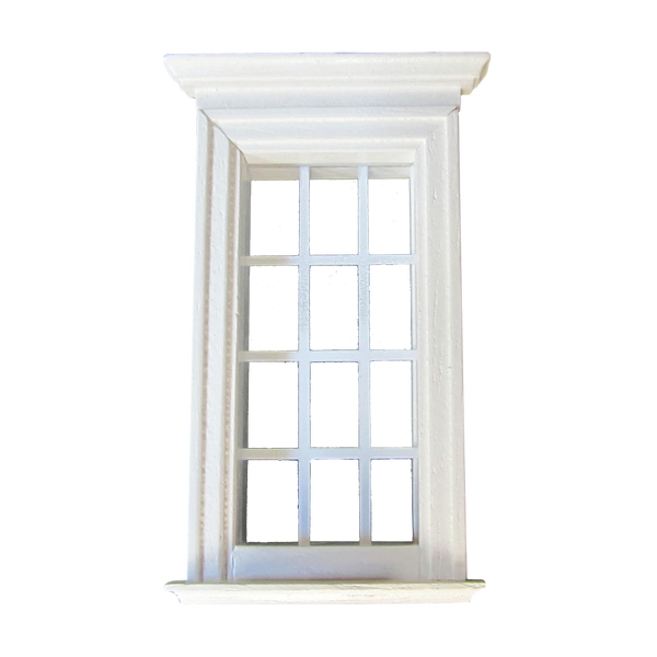 12 Light 1/2 Inch Scale Federal Dollhouse Window Painted White