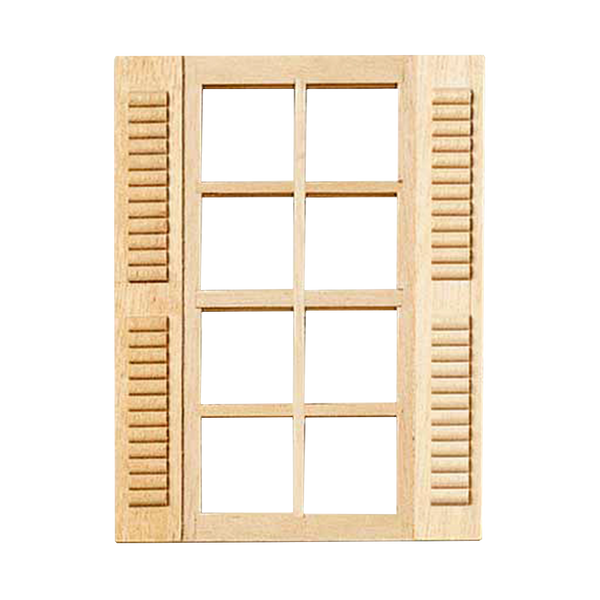 8-Light Dollhouse Window with Shutters