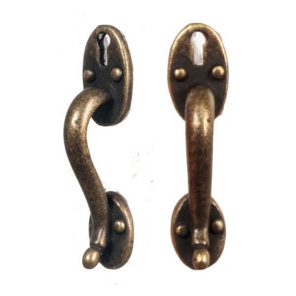 1 Inch Scale Dollhouse Antique Door Pulls Set of 2