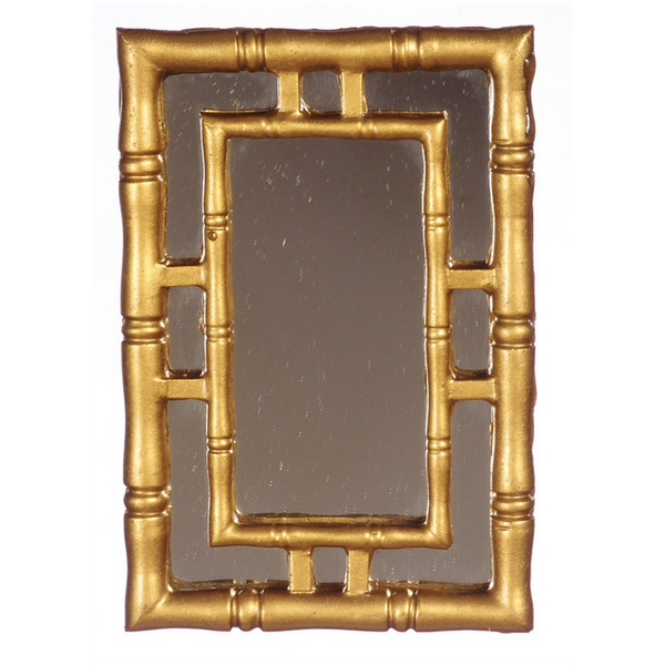 1 Inch Scale Gold Art Deco Wall Mirror Dollhouse Miniature
