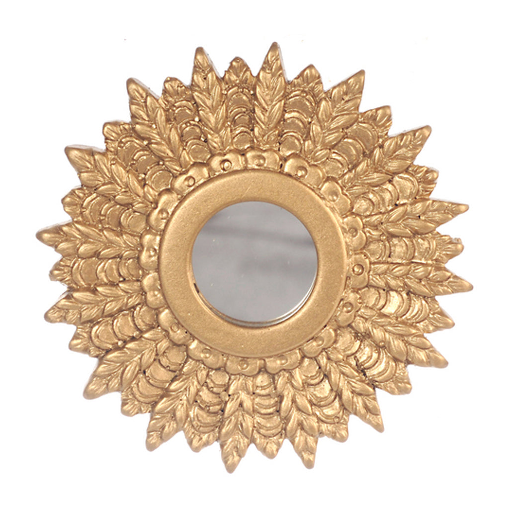 1 Inch Scale Giltwood 1950's Gold Sunburst Mirror Dollhouse Miniature