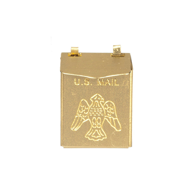 1 Inch Scale City Dollhouse Mailbox in Brass with Eagle