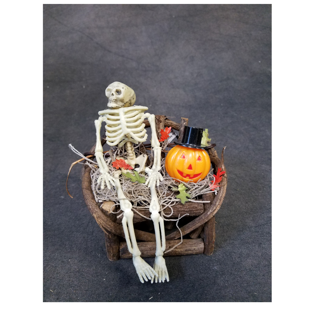 1 Inch Scale Decorated Bench with Skeleton and Pumpkin Dollhouse Miniature