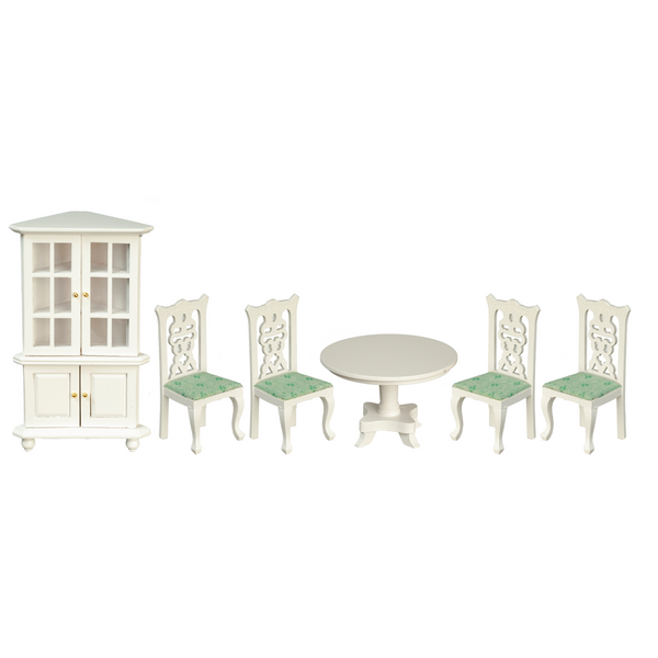 1 Inch Scale Dollhouse Dining Room Set in White with Mint Green