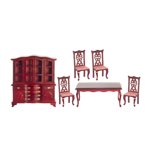 1 Inch Scale Dollhouse Dining Room Set in Dusty Rose