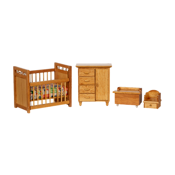 1 Inch Scale Dollhouse Deluxe Nursery Set in Oak
