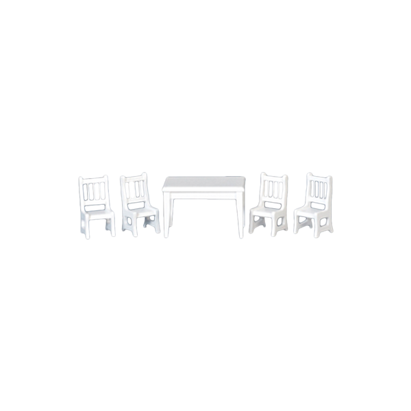 1/2 Inch Scale White Dollhouse Miniature Dining Room Table and Chairs Set