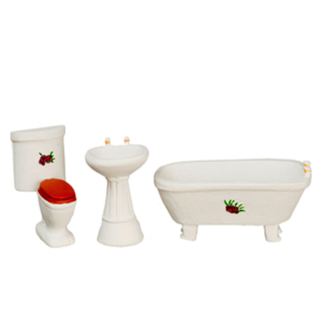 1/2 Inch Scale Simple Flower Dollhouse Bathroom Set