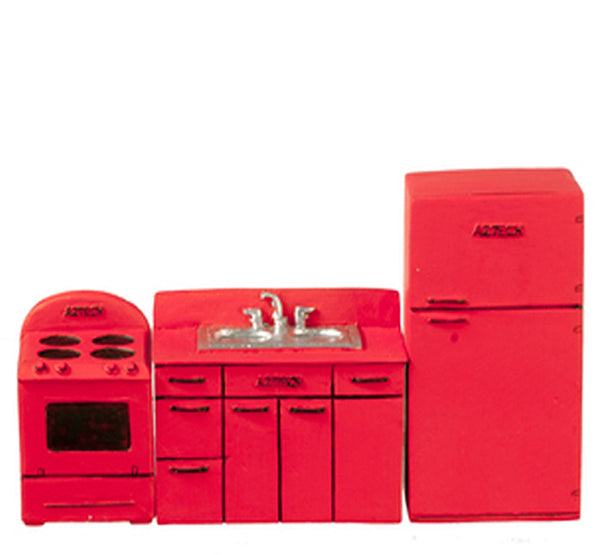 1/2 Inch Scale 1950's Red Dollhouse Miniature Kitchen Set