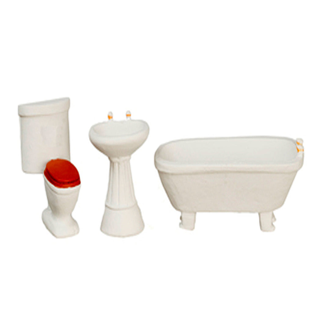 1/2 Inch Scale Traditional White Dollhouse Miniature Bathroom Set
