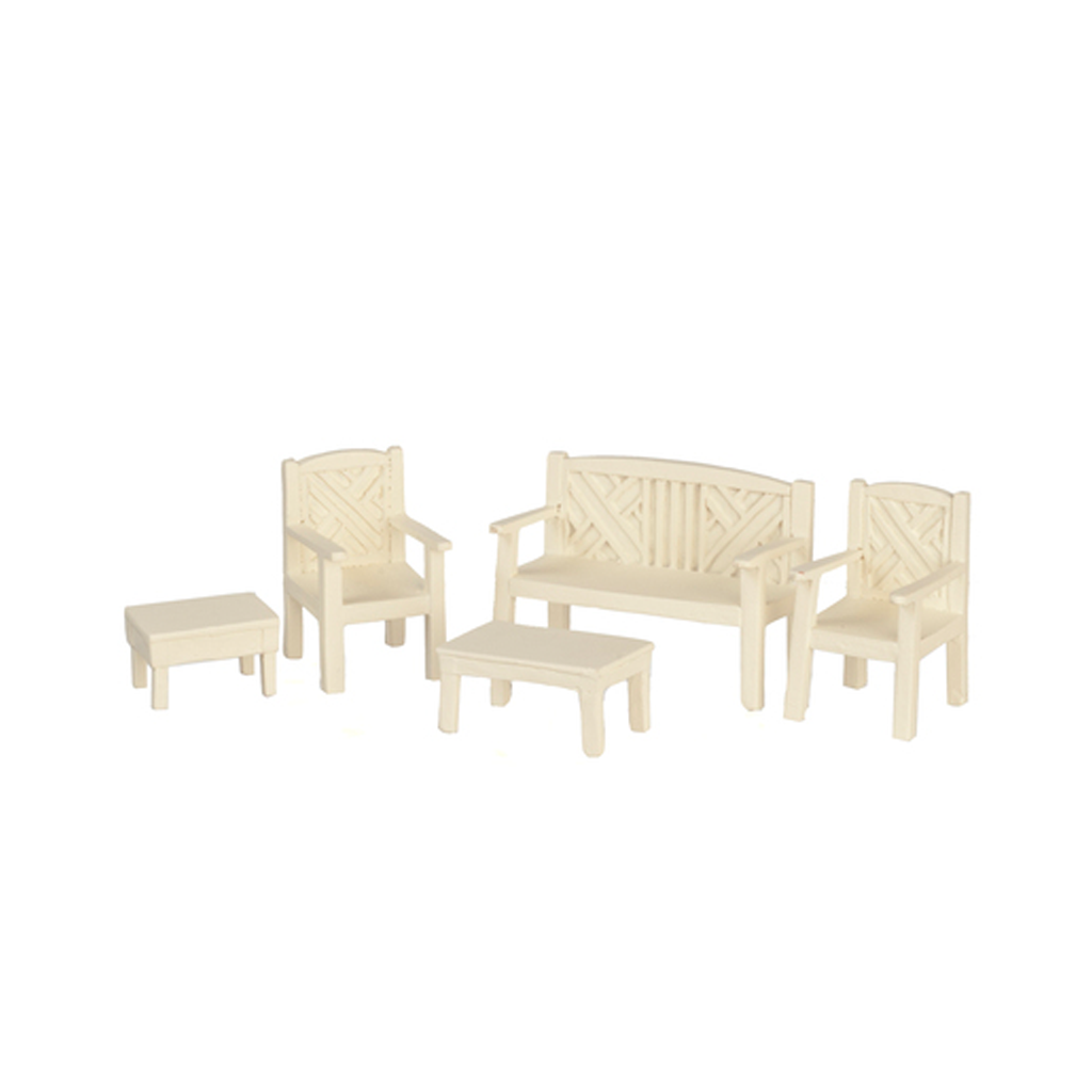1/2 Inch Scale Resin Dollhouse Miniature Garden Furniture Set in White