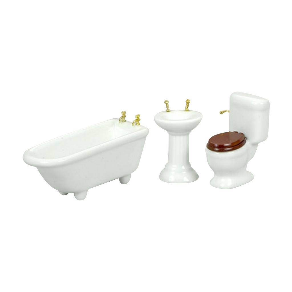 1 Inch Scale White Bathroom Dollhouse Set
