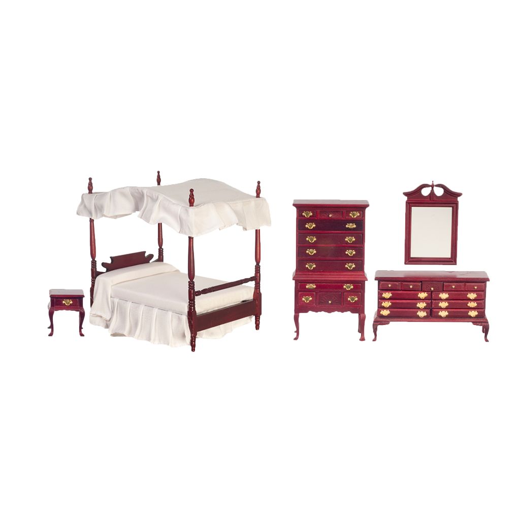 1 Inch Scale Dollhouse Canopy Master Bedroom Set in Mahogany with White Linen