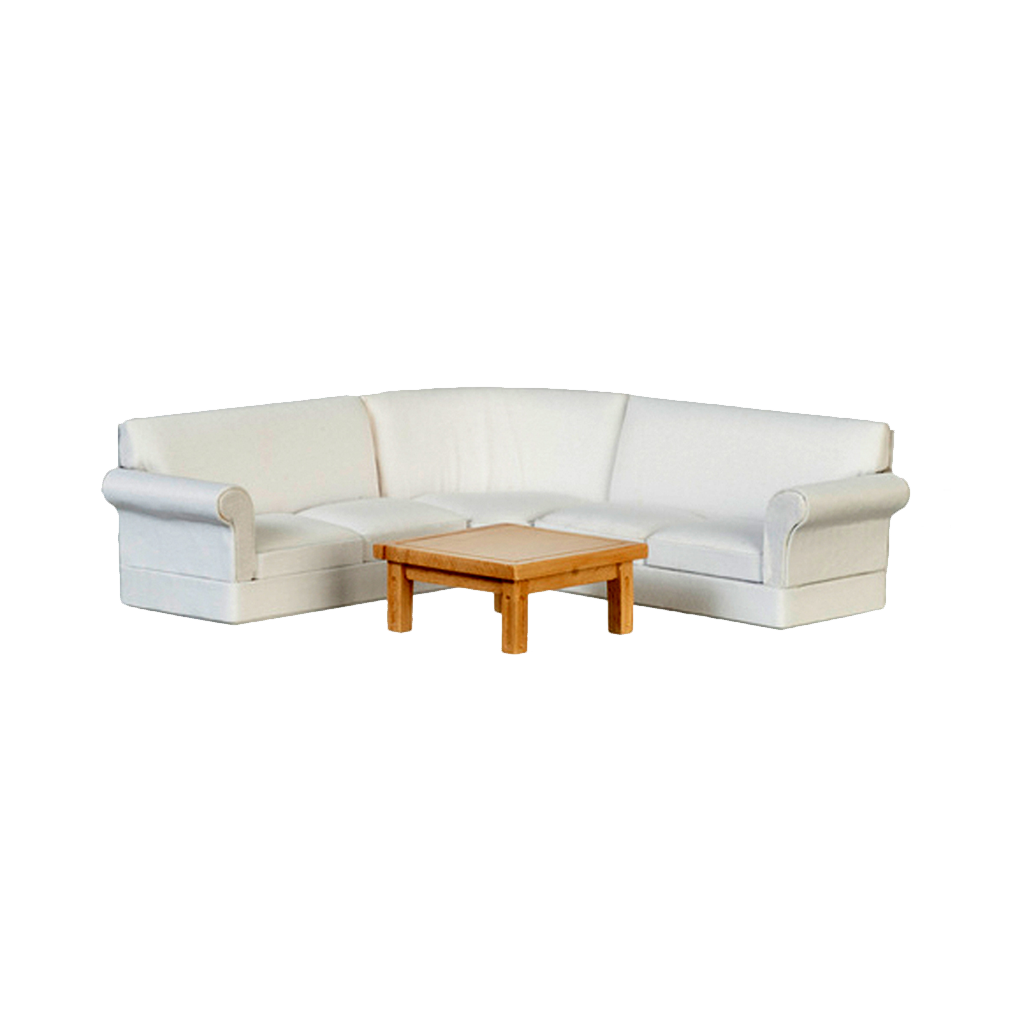 Groovy 1 Inch Scale Dollhouse Sectional Sofa Living Room Set White Linen Ncnpc Chair Design For Home Ncnpcorg