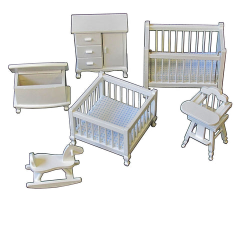 1 Inch Scale White Dollhouse Nursery Set 6 pieces