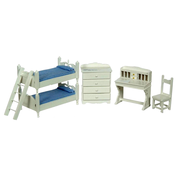 1 Inch Scale Dollhouse Bunk Beds Set with Blue Bedding