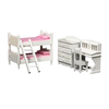 1 Inch Scale Dollhouse Bunk Beds Set with Pink Bedding