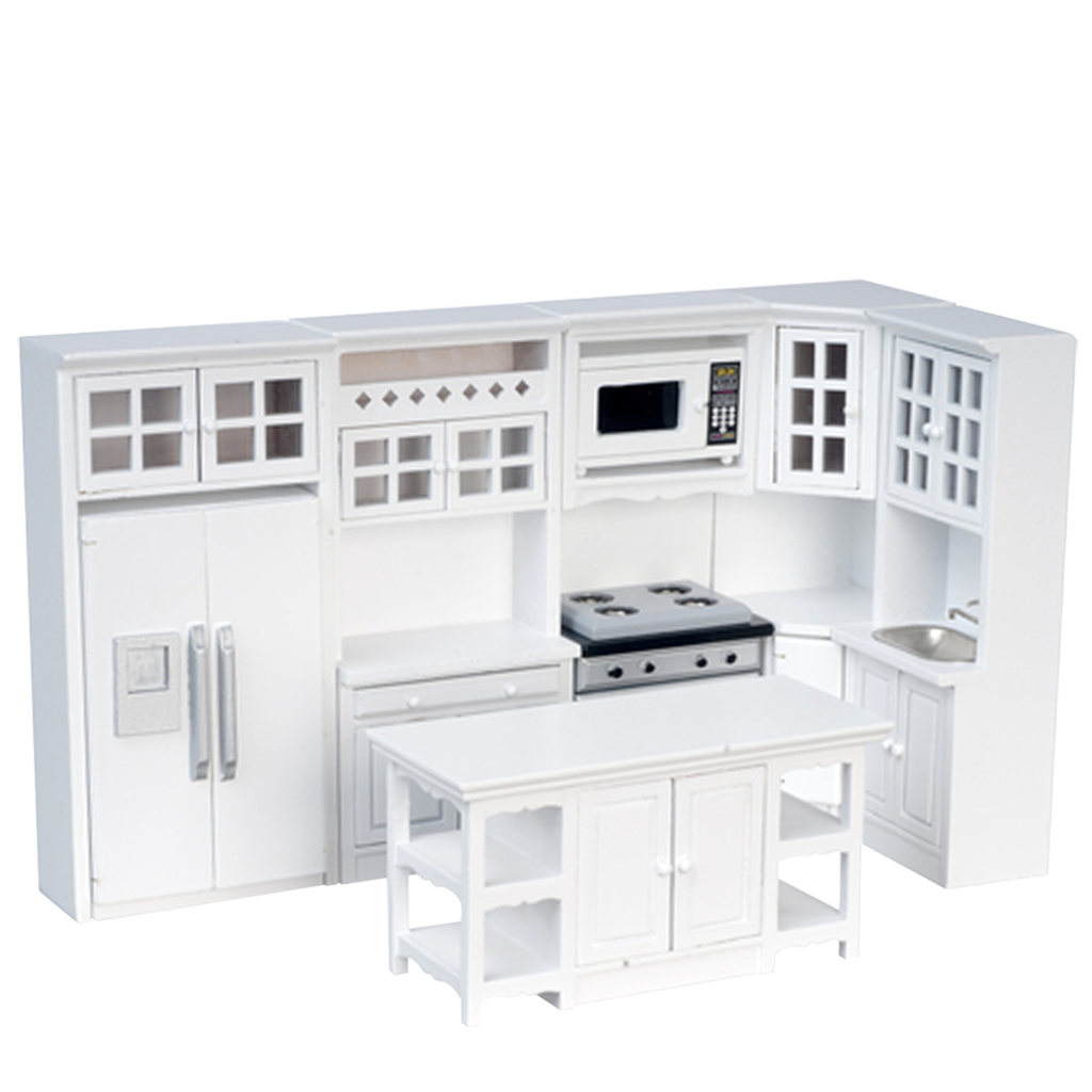 1 inch scale 8 piece white dollhouse kitchen set - Dollhouse Kitchen