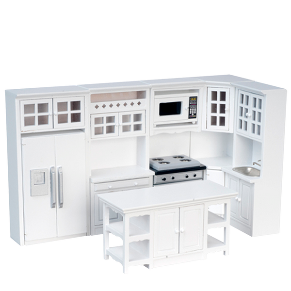 1 Inch Scale 8 Piece White Dollhouse Kitchen Set