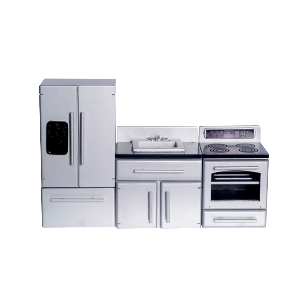 1 Inch Scale Stainless Steel Dollhouse Kitchen Set