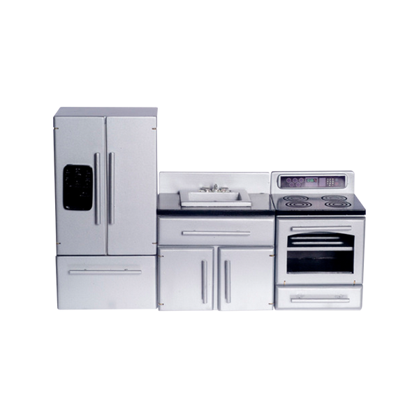 1 Inch Scale Stainless Steel Dollhouse Kitchen Set Real