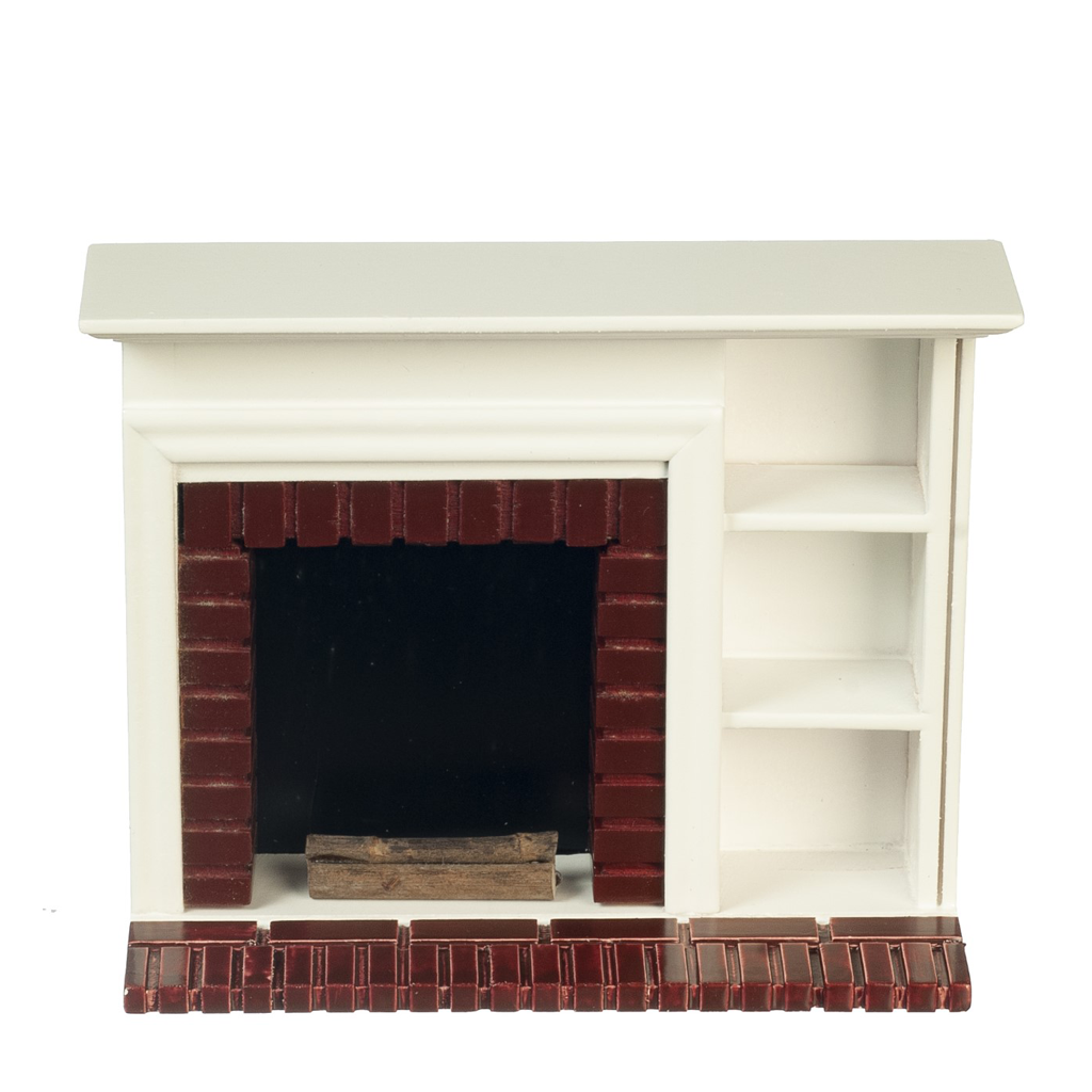 1 Inch Scale White Dollhouse Fireplace with Shelves and Logs