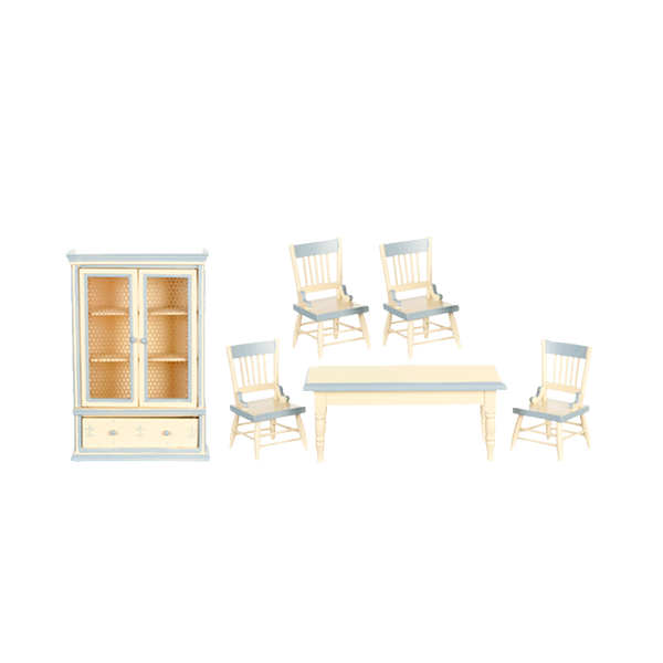 1 Inch Scale Dollhouse Farmhouse Dining Room Set in Cream and Light Blue